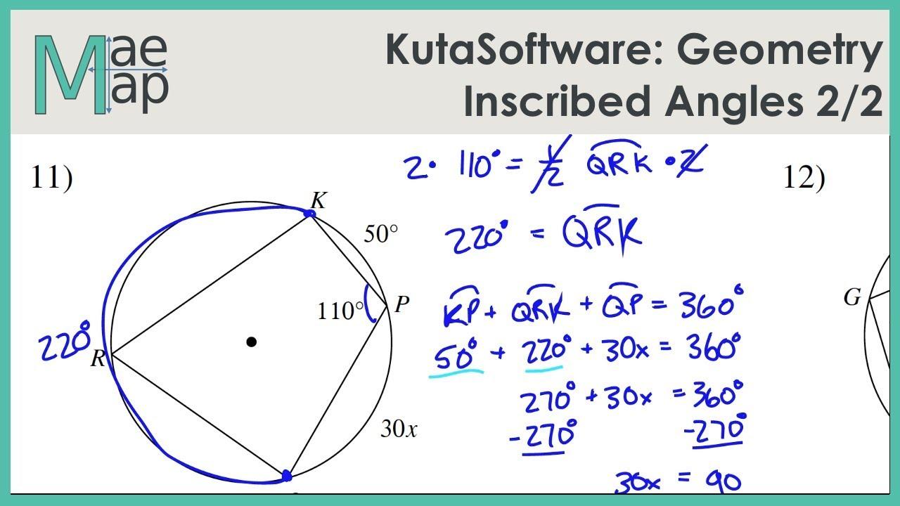 Kutasoftware Geometry Inscribed Angles Part 2 Youtube