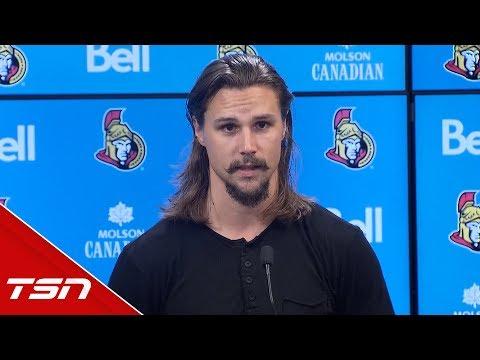 Erik Karlsson gives a statement to Ottawa