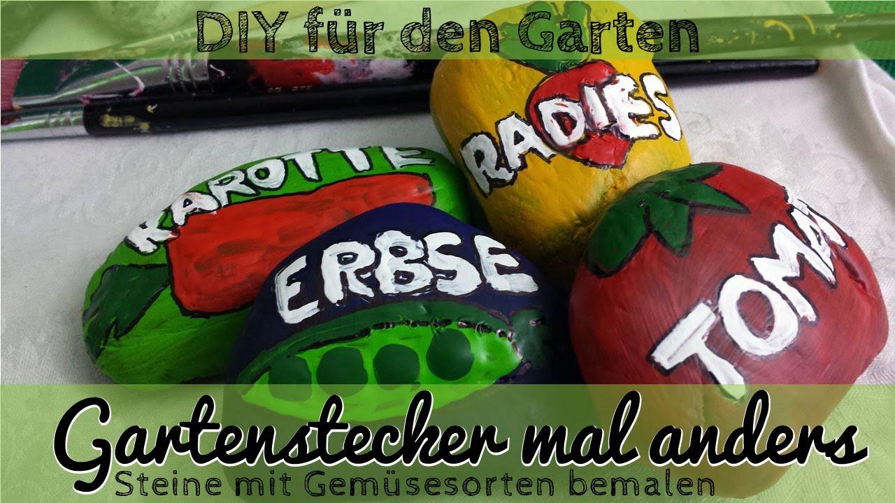 Gartendeko aus stein  DIY Bemalte Steine als Gartenstecker für den Gemüsegarten ...