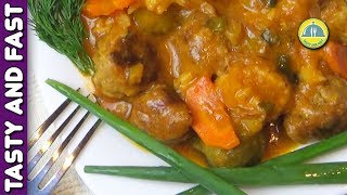 BEAUTIFUL MEAT TEFTELS in Tomato Sauce with Vegetables. Meatballs from Beef. MEAT TEFTELS Recipe