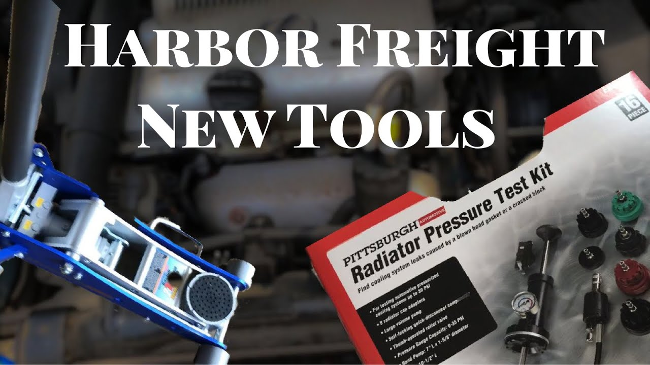 Harbor Freight radiator pressure test kit and 2 ton aluminum jack quick  look