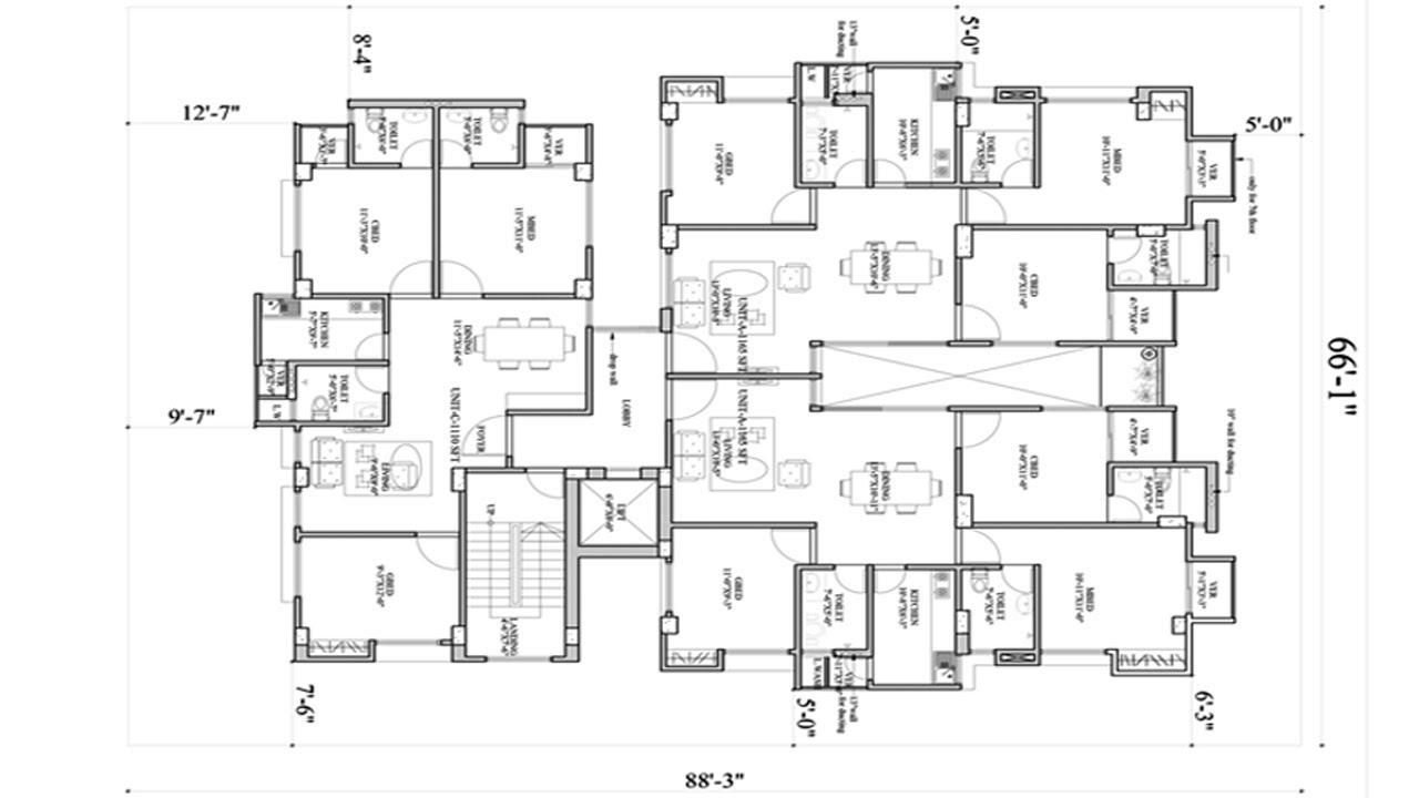 60\'x88\' floor plans   3 unit apartment building plans   ৩ ...