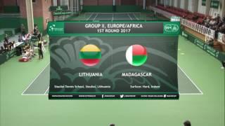 """""""Davis cup"""" turnyro mačas: Lietuva - Madagaskaras (dvejetų susitikimas) II diena 2017-02-04"""