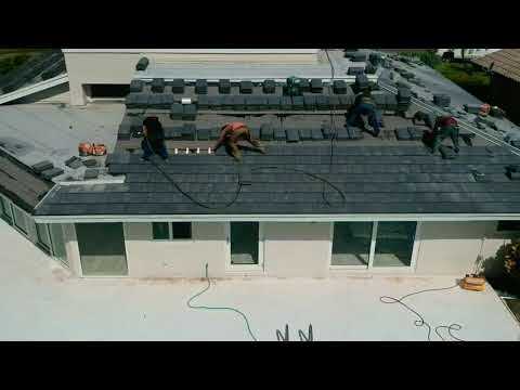 Tile roof being installed with Polyfoam in Delray Beach, Fl.
