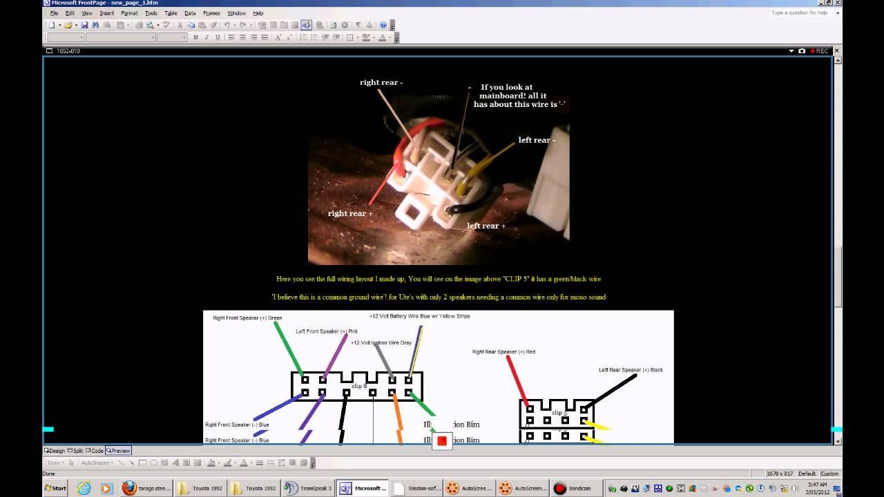 toyota head unit wiring wiring diagram detailstoyota tarago previa estima 1992 tcr10 stereo [ 1280 x 720 Pixel ]