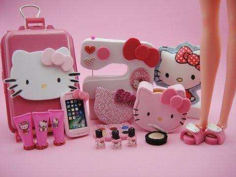 10 Barbie Hacks and Craft Hello Kitty - Bag, Makeup, Phone