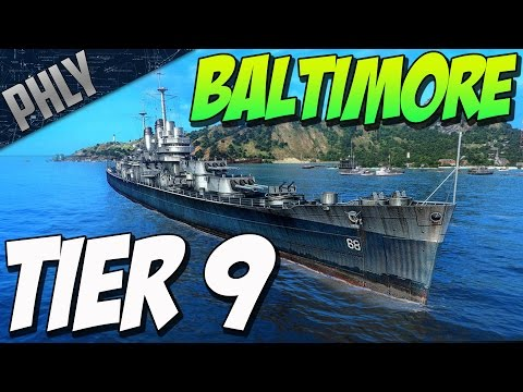 World Of Warships Tier 9 Cruiser Gameplay -  Baltimore!