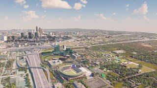 Fly-over of future development around Georgia State Stadium