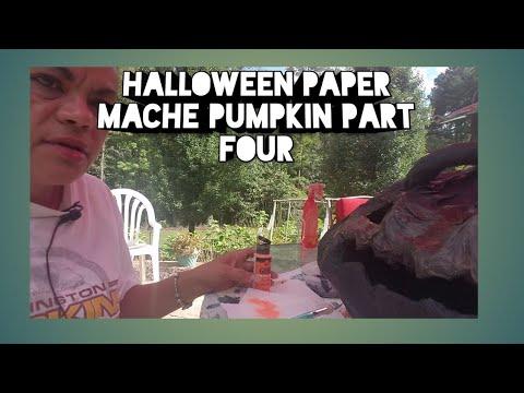 Halloween Paper Mache Pumpkin Part Four