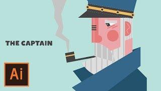 Illustrator Tutorial - Captain Flat Design Character (Illustrator Character Design Tutorial)