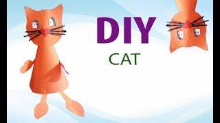 Как сделать кошку из бумаги, Origami  cat . Аппликация из цветной бумаги How to make a paper cat