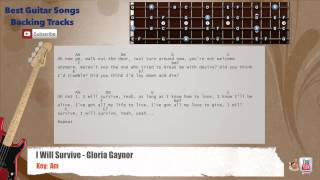 I Will Survive - Gloria Gaynor Bass Backing Track with scale, chords and lyrics