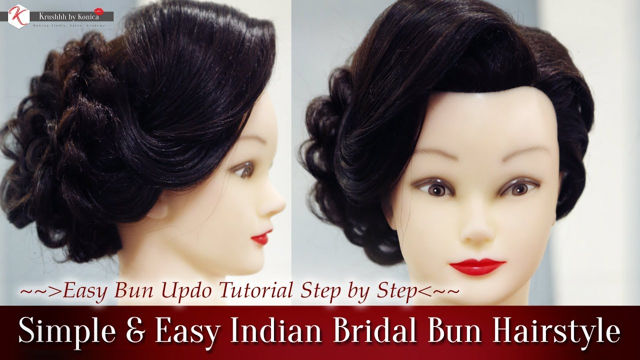 simple & easy indian bridal bun hairstyles   step by step perfect bridal bun hair tutorial video