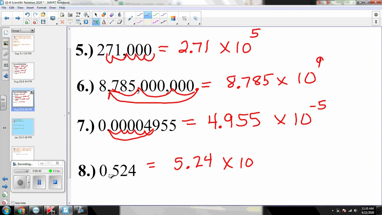 10 6 writing numbers in scientific notation 2020  youtube