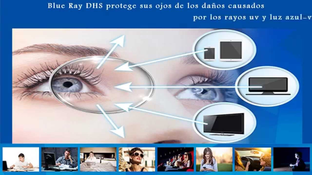 7cecfdb51e BLUE RAY DHS / LENTES / MICAS OFTÁLMICAS (protección de ojos de efectos de  luz azul violeta) - YouTube