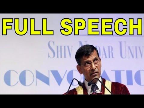 Raghuram Rajan Full Speech At Shiv Nadar University
