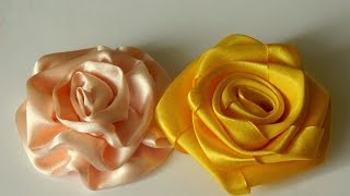 як зробити троянду від атласної стрічки