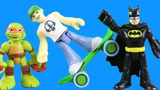 Imaginext Batman Teams Up With Teenage Mutant Ninja Turtles TMNT + Skateboard Dude ! Superhero Toys