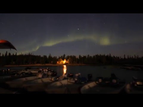 Northern lights over Hatchet Lake Lodge in Canada