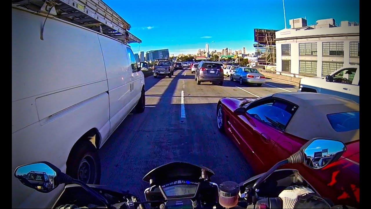 san francisco bay bridge lane splitting on ducati hypermotard sp