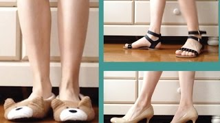 Different shoes on Hardwood floor  | ASMR