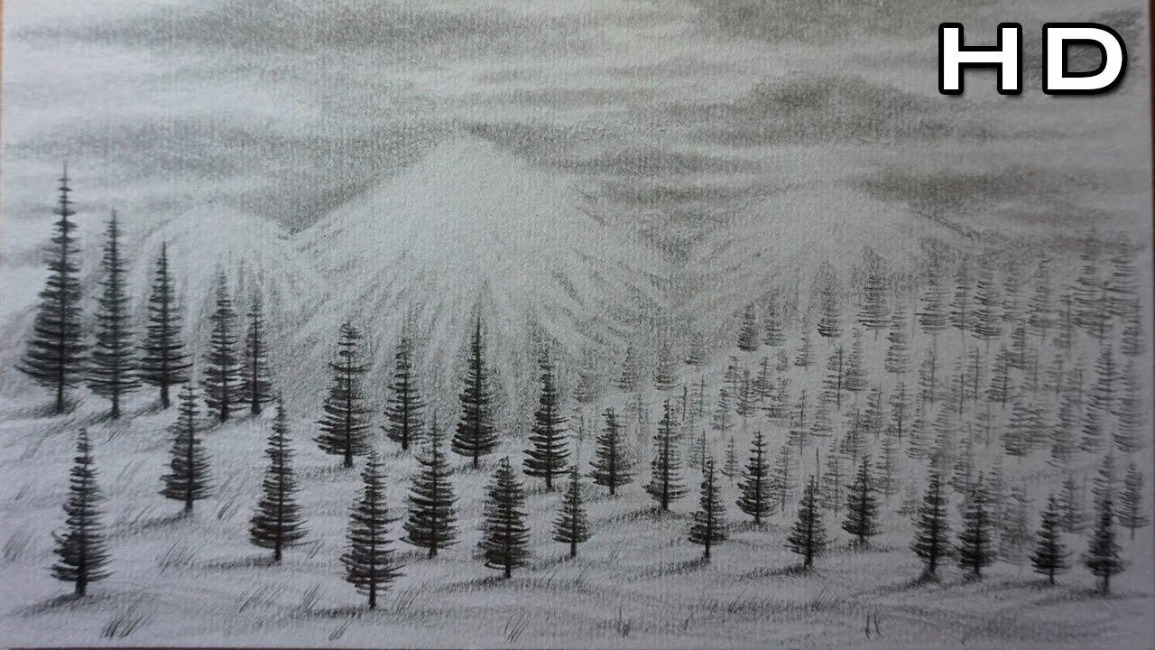 Cmo Dibujar un Paisaje de Montaas y Nieve a Lpiz Paso a Paso