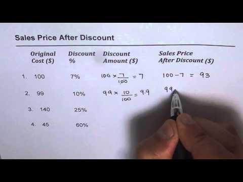 how to calculate sales price after discount youtube. Black Bedroom Furniture Sets. Home Design Ideas