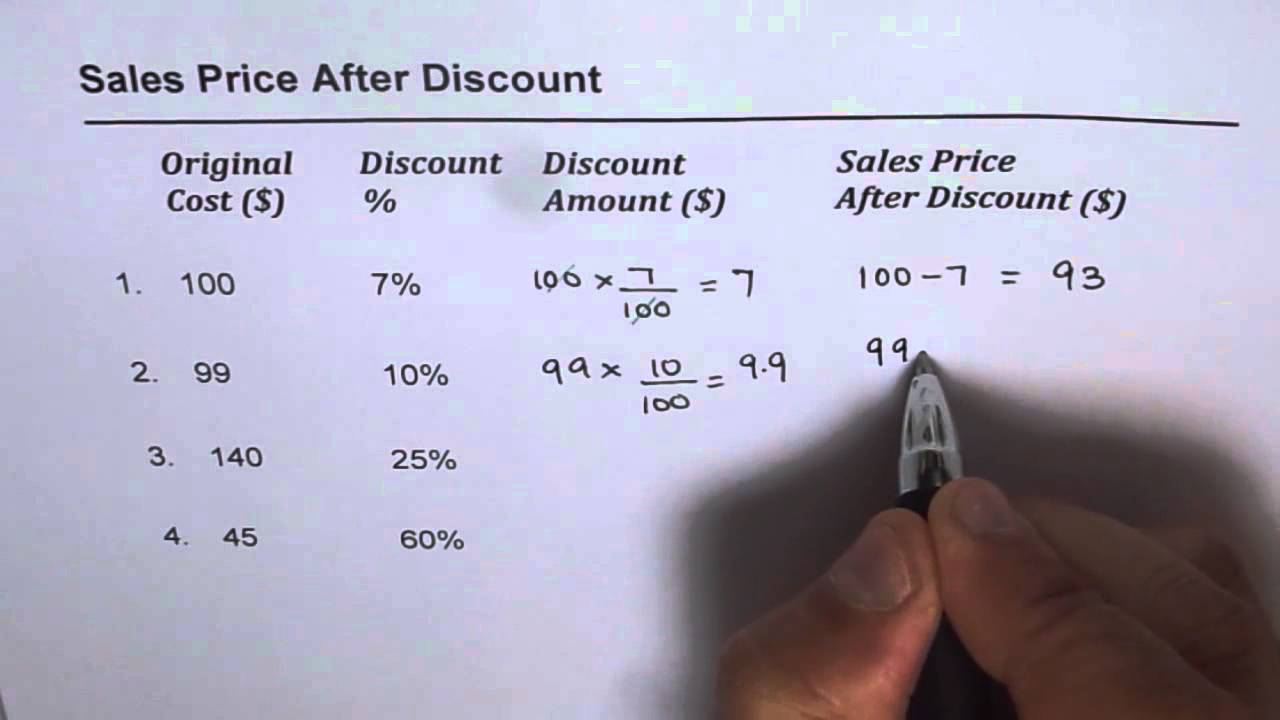 how to calculate sales price after discount youtube