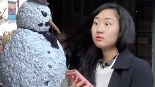 Scary Snowman Hidden Camera Practical Joke Best Of 2016  - Over 100 reactions! (part 2)