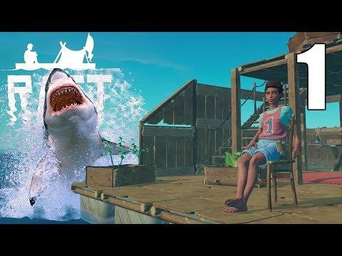 Shark Harasses Castaway! -  RAFT Gameplay - Huge Raft Update - Part 1