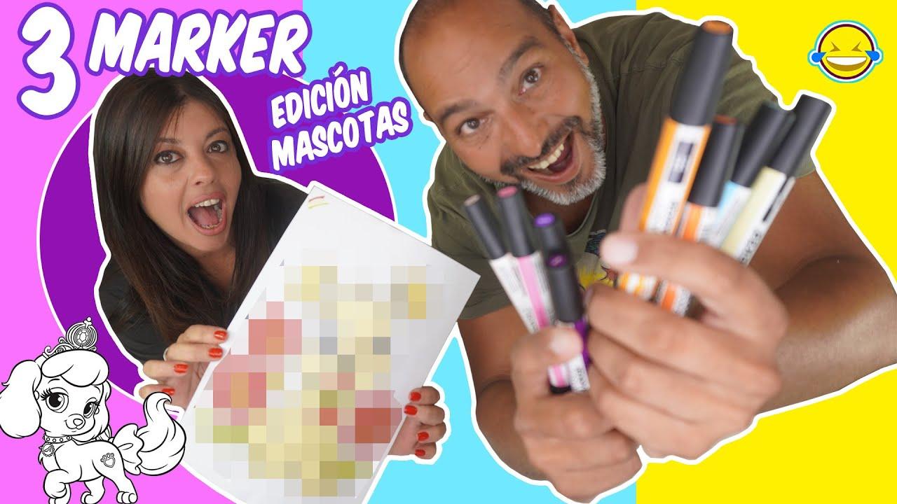 3 Marker challenge Pets Edition | Pintamos Mascotas con 3 Colores | Bego y Jordi Momentos Divertidos