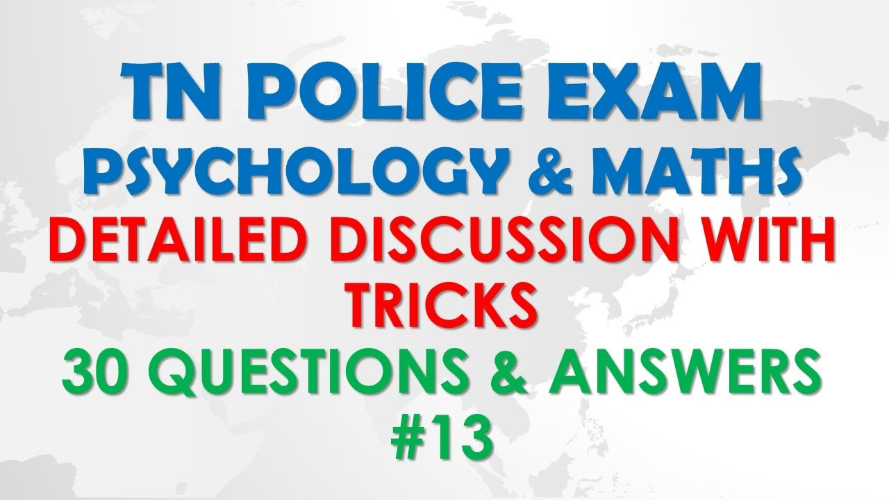 TN Police Exam - 30 Questions & Answers -Psychology & Maths - tnusrb  psychology # 13