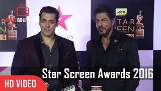 Salman Khan And Shahrukh Khan Together At Star Screen Awards 2016  Full Video