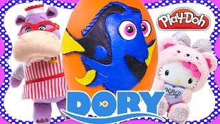 Finding Dory Movie Play Doh Disney Pixar Toy Surprise Egg - Hello Kitty Doc McStuffins Playdough