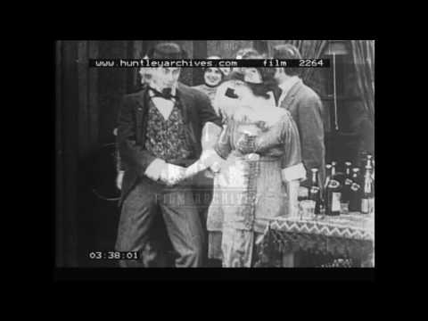 Normand, Sennett and Sterling in 1912 comedy.  Archive film 2264