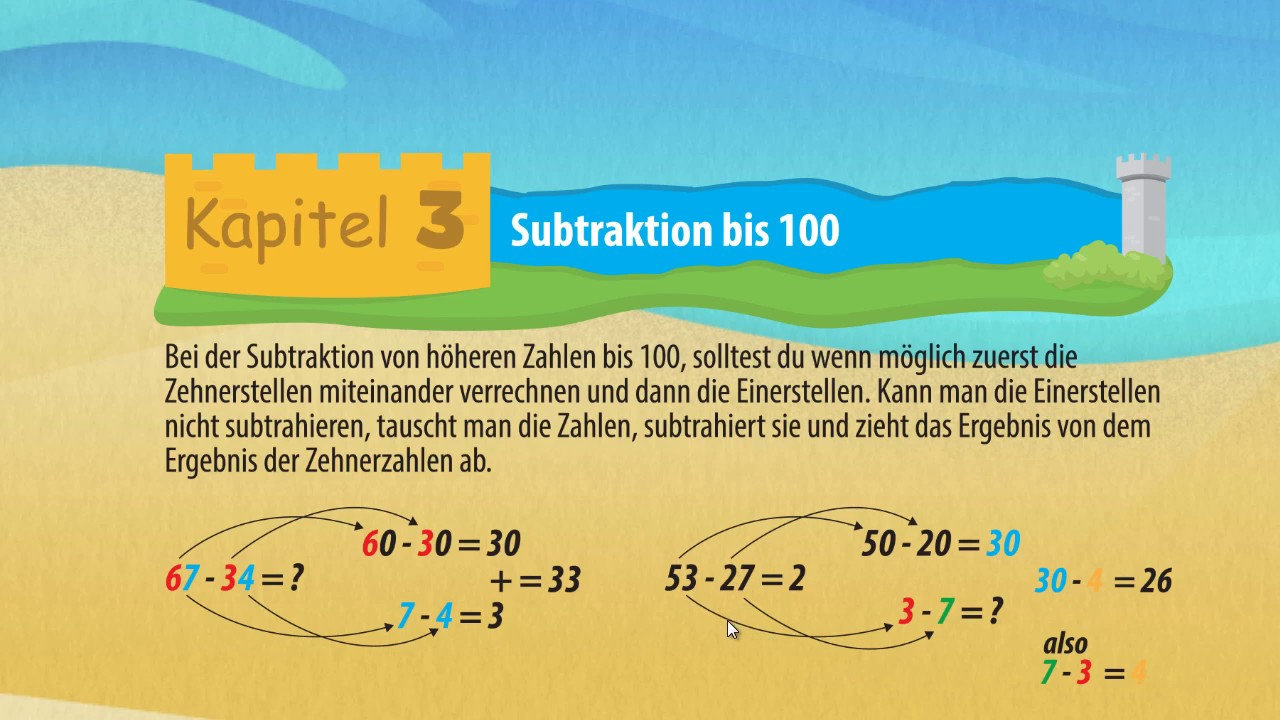 Subtraktion bis 100 - minus rechen ☆ Mathematik Klasse 2 - YouTube