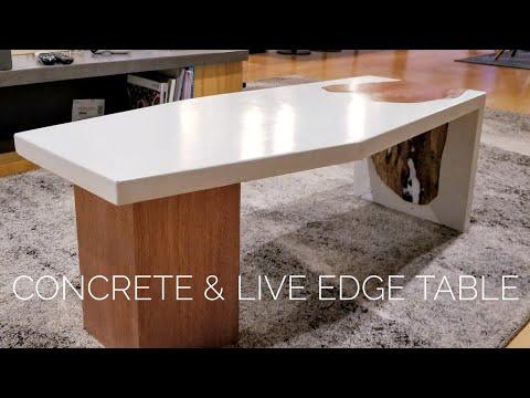 DIY Concrete Coffee Table w/ Live-Edge Inlay || How to Make (w/ GFRC mix)