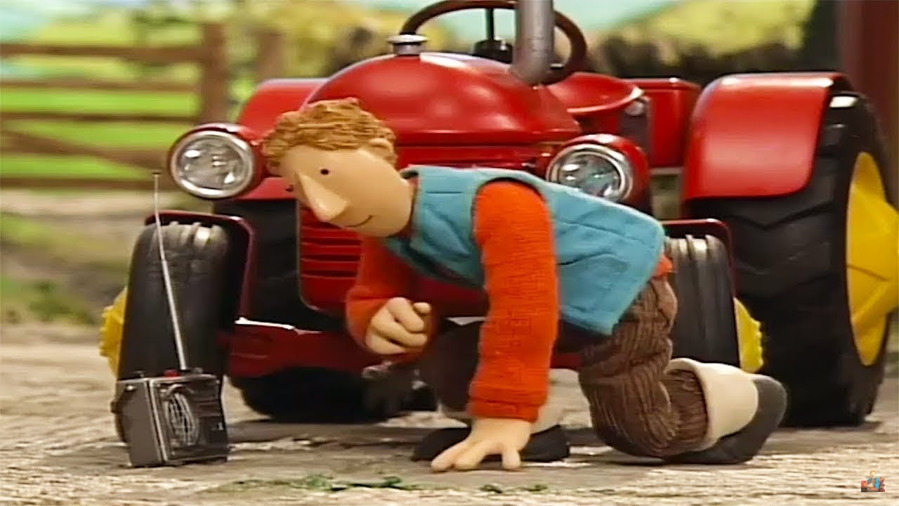 kleiner roter traktor  kreise im kornfeld  cartoon