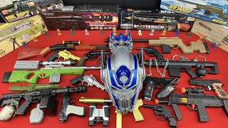 Many Toy Weapons and Boxes - Sniper and Assault Rifles, Voiced Optimus Prime Mask - Toy Guns Toys