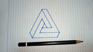 Cara menggambar segitiga impossible - 3d trick art on graph paper