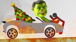 БЕШЕНЫЙ ХАЛК против СТИКМЕНА крутая игра про мульт машинки в смешном видео про горе героя от ФГТВ