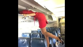 Funniest Flight Attendants compilation -  try not to laugh