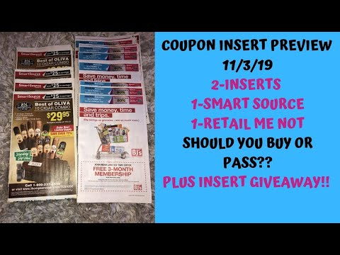 Early Coupon Insert Preview Inserts Arriving 11 3 19 2 Inserts 1 Rmn 1 Ss Plus Insert Giveaway Youtube