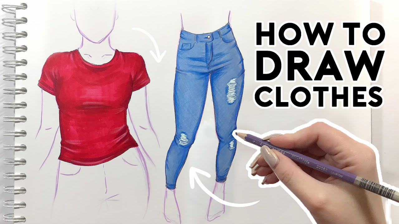 How To Draw Clothes Sketching Coloring Tutorial Youtube