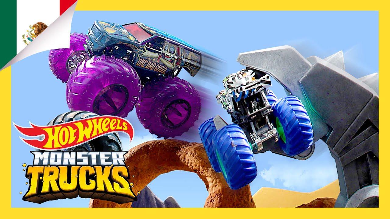 Los Monster Trucks derrotan a las Bestias Robóticas!   Isla de los Monster Trucks   Hot Wheels