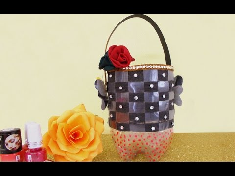 Recycled craft ideas how to make utility basket from for Products made out of waste