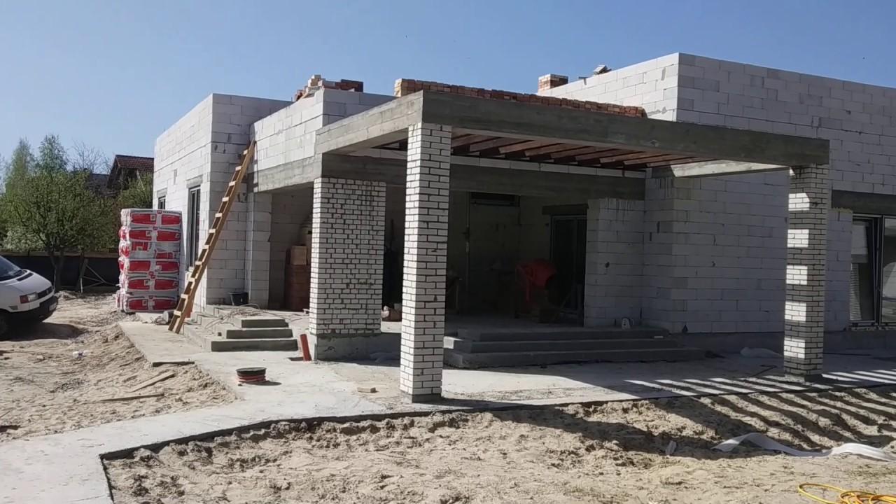 Строительство дома из газобетонных блоков. Строительство дома с плоской кровлей.