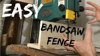 Needed a simple bandsaw fence. This is not my design, I just adopted it. It works great for me. Easy to adjust. Simple.