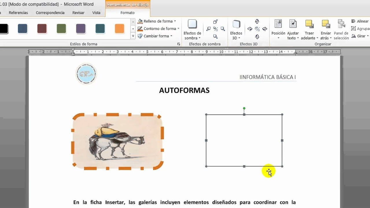 Insertar Autoformas en Word 2010  YouTube