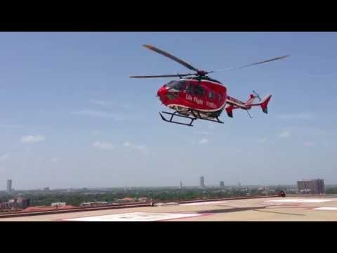 Memorial Hermann Life Flight leaving heliport for rescue